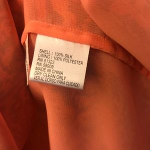 ANTONIO MELANI Tops - Antonio Melani Peach/Orange Silk Peasant Blouse L
